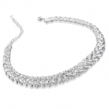 Stunning Choker Style Necklace in Silver Plating with Crystal Stones